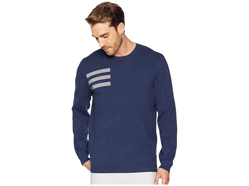 Image of adidas Golf 3-Stripes Crew Neck Sweater (Collegiate Navy Heather) Men's Long Sleeve Pullover