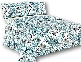 Tache White Blue Paisley Damask Flat Sheet - Frozen Forest - Luxurious Cotton Top Bed Sheet Only Pillow Covers - 3 Piece Set - Queen