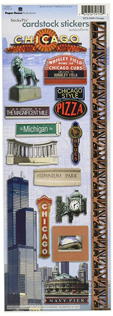 Paper House Productions STCX-0068E Travel Cardstock Stickers, Chicago (6-Pack)