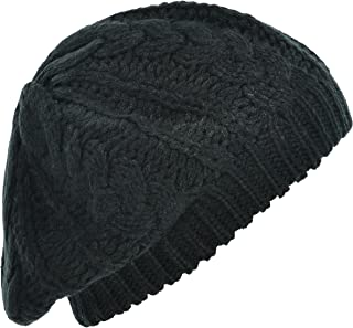 Hand By Hand Aprileo Women's Knitted Beanie Beret Hat Cable Pattern Double Layer