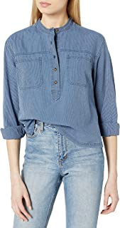 Lucky Brand Women's Long Sleeve V Neck Stripe Edie Popover Top