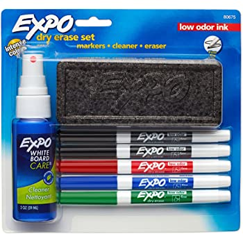 Expo Low Odor Dry Erase Marker Set with White Board Eraser and Cleaner, Fine Tip Dry Erase Markers, Assorted Colors, 7 Piece Set with Whiteboard Cleaner