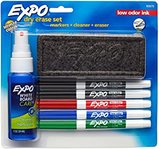 Expo Low Odor Dry Erase Marker Set with White Board Eraser and Cleaner | Fine Tip Dry Erase Markers | Assorted Colors, 7 P...