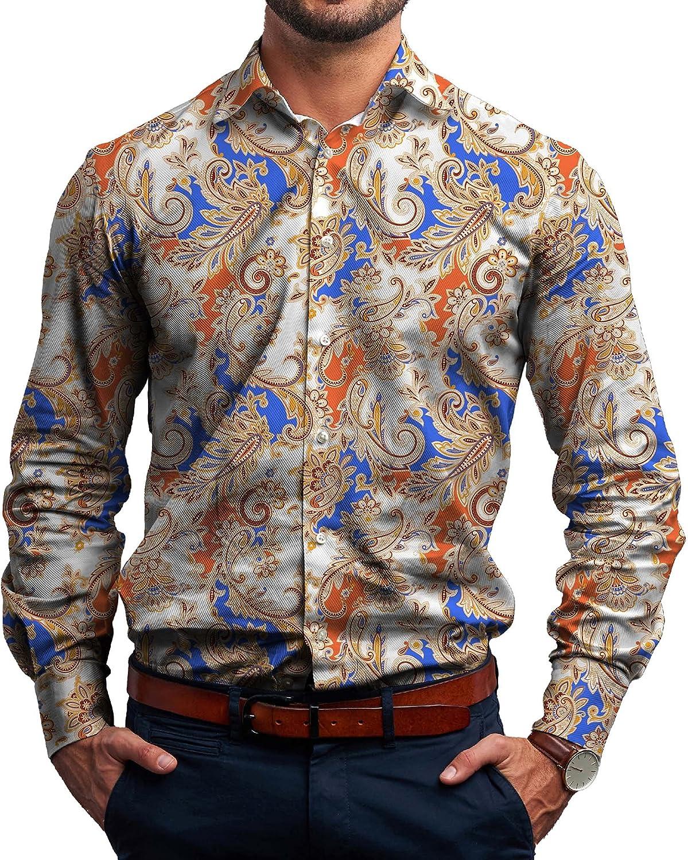 Alimens & Gentle Men's Luxury Print Shirt Casual Floral Long Sleeve Button Down Dress Shirt