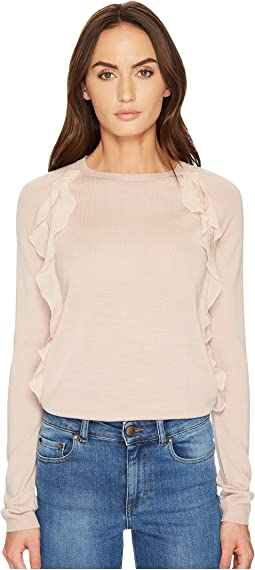 RED VALENTINO - Wool Yarn & Fabric Rouches Top