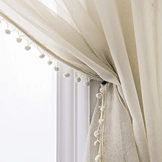 Selectex Linen Look Pom Pom Tasseled Sheer Curtains - Rod Pocket Voile Curtains for Living and Bedroom, Set of 2 Curtain Panels (52 x 95 inch, Nature)