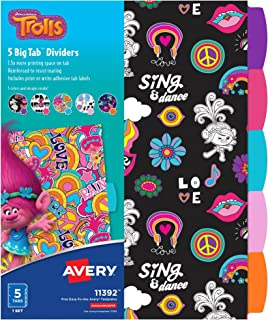 Avery DreamWorks Trolls Big Tab Dividers, Assorted Designs, 5-Tab Set (11392)