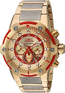 Marvel Iron Man Edition Gold Dial Chronograph Stainless Steel Men's Watch 25781