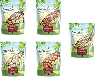 Organic Nuts in a Gift Box - A Variety Pack of Pecans, Macadamia Nuts, Hazelnuts, Walnuts and Brazil Nuts