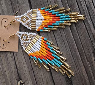 Pacific Sunrise Turquoise, Gold, Orange Traditional Beaded Earrings ~HANDMADE!