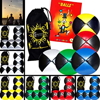 5x Pro Thud Juggling Balls - Deluxe (LEATHER) Professional Juggling Ball Set of 5 + Mister Babache Ball Juggling Book of tricks, and Fabric Travel Bag! (Black/White)