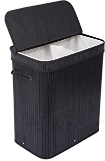 BIRDROCK HOME Double Laundry Hamper with Lid and Cloth Liner - Bamboo - Black - Easily Transport Laundry Basket - 2 Section Collapsible Hamper - String Handles