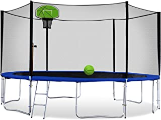 Exacme Round Trampoline with Safety Pad, Enclosure Net, Ladder and Green Basketball Hoop, High Weight Limit