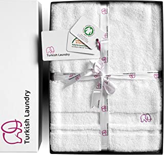 Turkish Laundry 100% Organic Luxury Bath Towels Set, 850GSM Combed Cotton, Super Soft, Fluffy, Highly Absorbent & Fast Drying, Hotel & Spa Premium Quality, GOTS Certified, 5-Piece Luxurious Gift Set