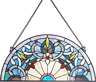 River of Goods Victorian Style 11 Inch High Stained Glass Half Moon Window Panel, Blue, Ivory, Red