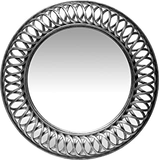 Lattice Silver Wall Mirror Unique Decorative Large Round Circular Hanging 23 inch Infinity Instruments