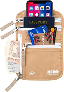 HERO Neck Wallet - RFID Blocking Passport Holder - Easy to Conceal TravelPouch - Includes Ebook on How to Avoid Pickpockets by Asher & Lyric
