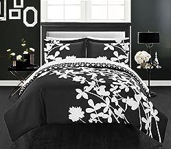 مجموعة أغطية لحاف أنيقة من 3 قطع Calla Lily من Chic Home، مقاس Queen، أسود