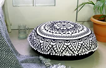 Popular Handicrafts Large Hippie Lotus Mandala Floor Pillow Cover - Cushion Cover - Pouf Cover Round Bohemian Yoga Decor Floor Cushion Case- 32 Black & White