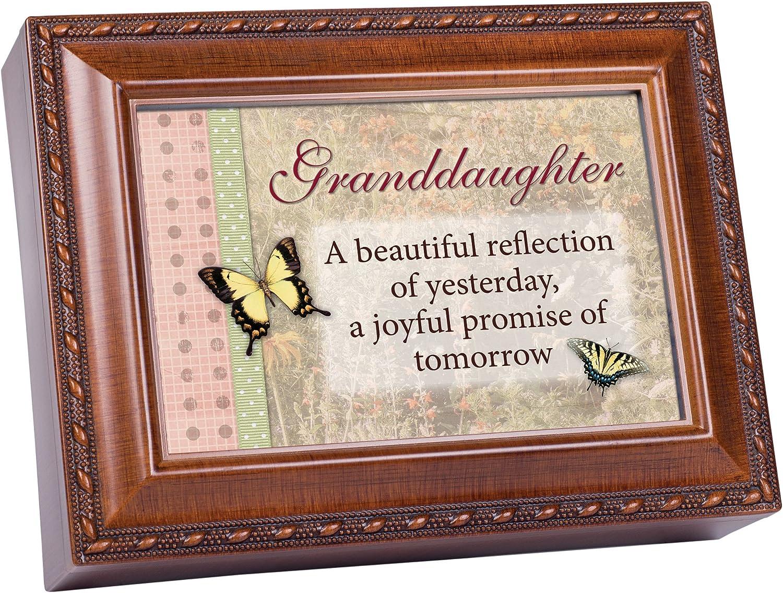 Cottage Garden Granddaughter Woodgrain Music Box Jewelry Box Plays Light Up My Life