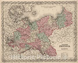 Historic Map - 1866 Prussia and Saxony. - Vintage Wall Art - 54in x 44in