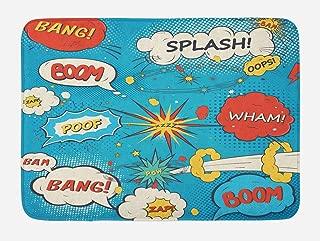 Lunarable Superhero Bath Mat, Pop Art Style Comic Speech Bubbles Funny Humor Expressions Boom Splash Bang, Plush Bathroom Decor Mat with Non Slip Backing, 29.5
