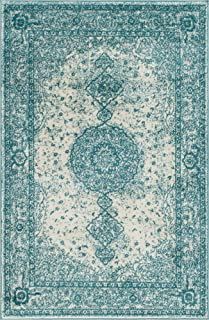 Unique Loom Bromley Collection Vintage Traditional Medallion Border Turquoise Area Rug (4' 0 x 6' 0)