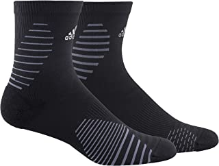 adidas Unisex Running Mid-Crew Sock (1-Pair), Black/Onix/Silver Reflective, Medium, (Shoe Size 6.5-9)
