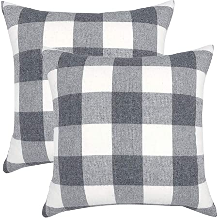 YOUR SMILE Retro Farmhouse Buffalo Tartan Chequer Plaid Polyester Linen Decorative Throw Pillow Case Cushion Cover Pillowcase for Sofa,Set of 2 (Grey, 18''x18'')