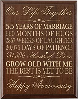 LifeSong Milestones 55th Wedding Anniversary Wall Plaque Gifts for Couple, 55th for Her,55th Wedding for Him Wall Plaque Special Dates to Remember (Cherry)