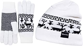 Wantdo Women's Outdoor Double Layer Fleece Lined Beanie Knit Hat Gloves Set