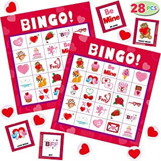 Valentines Day Bingo Game Cards (5x5) – 28 Players for Kids Party Card Games, School Classroom Games, Love Party Favors Supplies, Family Activity