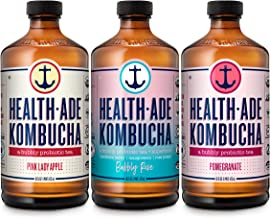 Health-Ade Kombucha Tea Organic Probiotic Drink, 12 Pack Case (16 Fl Oz Bottles), Fan Favorite Variety Pack (Pink Lady App...