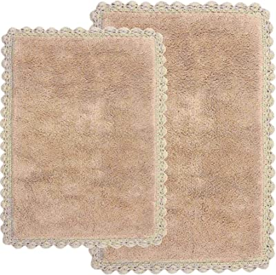 Amazon Com Crochet 2 Piece Bath Rug Set 21 By 34 Inch And 17 By 24 Inch Linen Home Kitchen