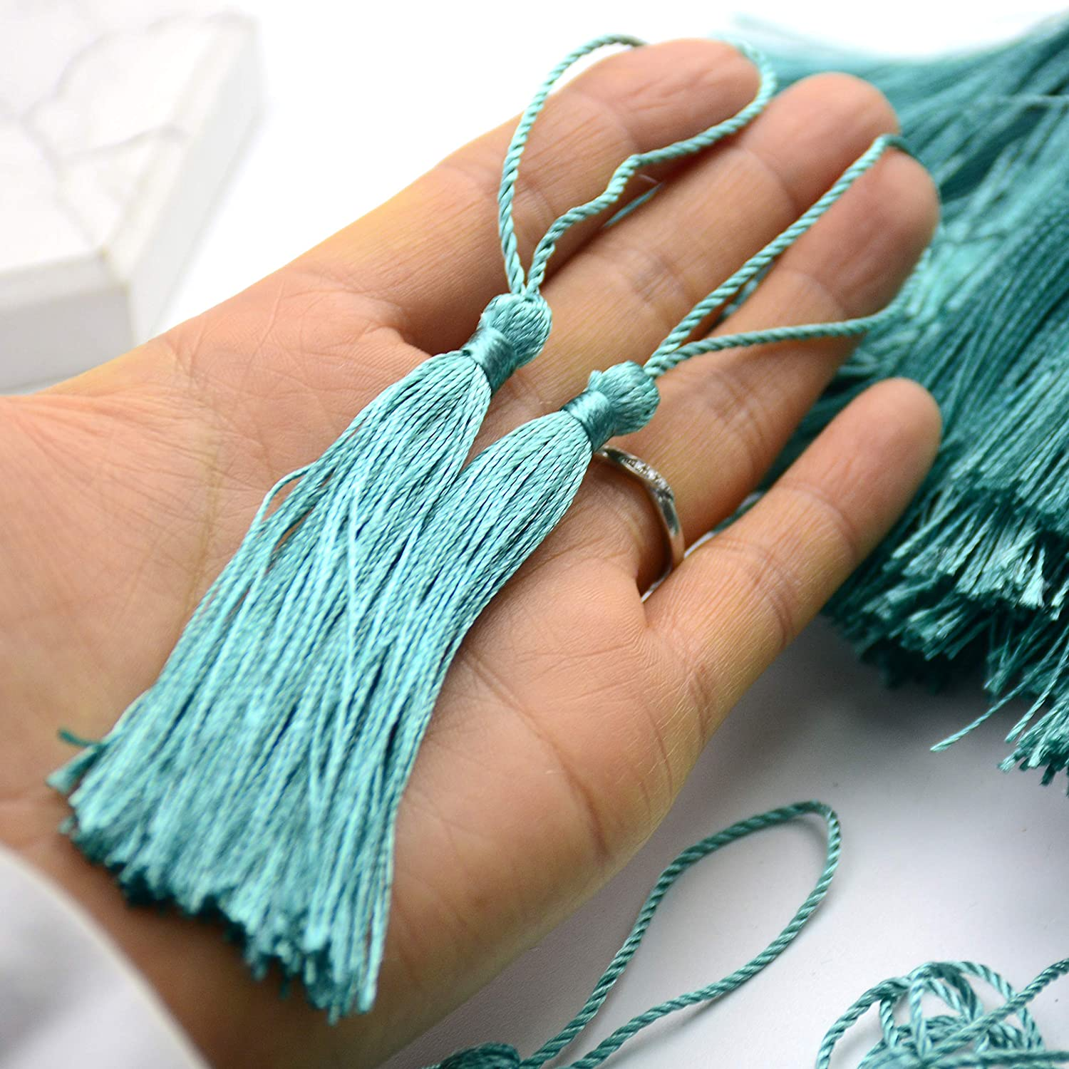 Bookmarks Souvenir Aokbean 100pcs 13cm//5 Inch Handmade Chinese Tassels Silky Floss Tassel with 2-Inch Cord Loop and Small Chinese Knot for Jewelry Making DIY Craft Accessory #18