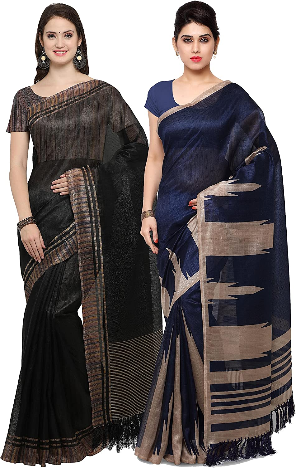 Rajnandini Black And Navy bluee Tussar Silk Printed Traditional Saree (Combo Of 2)