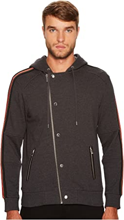 The Kooples - Zip-Up Sweater with Hood and Three-Colour Braid