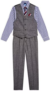 Boys' 4-Piece Vest Set with Dress Shirt, Tie, Vest, and Pants