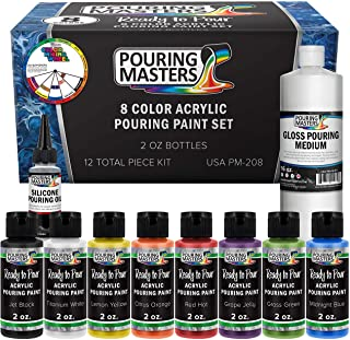 Pouring Masters 8 Color Ready to Pour Acrylic Pouring Paint Set - Premium Pre-Mixed High Flow 2-Ounce Bottles - for Canvas...