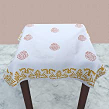 "Linenwalas Damask Ivy Leaf Design Self Jaquard White Table Cover (Stool Cover (35""x35""), Orange)"