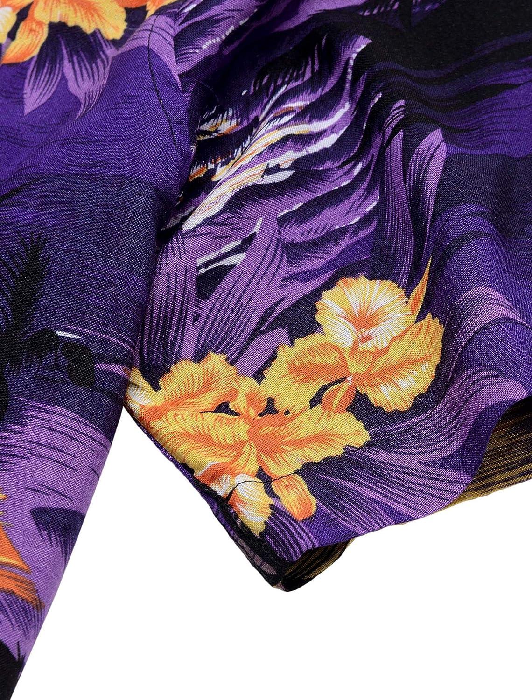 Alimens & Gentle 100% Cotton Regular Fit Short Sleeve Casual Hawaiian Shirt for Men