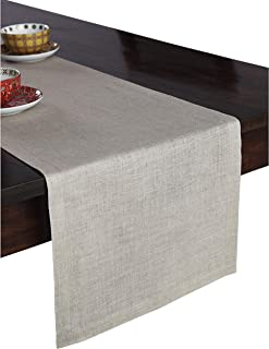 Solino Home 100% Pure Linen Table Runner – 14 x 132 Inch Athena, Handcrafted from European Flax, Natural Fabric Runner – Natural