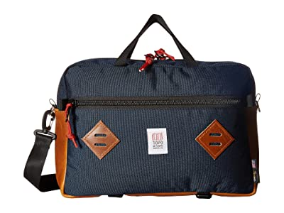 Topo Designs Mountain Briefcase (Navy/Leather) Briefcase Bags