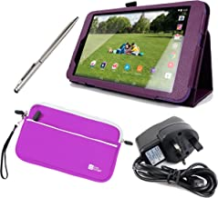 DURAGADGET Tesco Hudl 2 Case Bundle - Folding Folio Kick-Stand Cover in Purple with Stylus Holder for New Tesco Hudl 2 + B...
