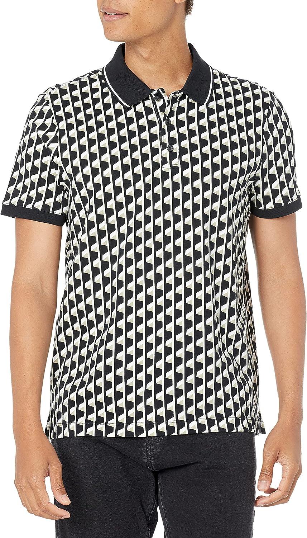 Perry Ellis Men's Standard Ultra Soft Touch Pima Cotton Geo Print Short Sleeve Polo Shirt