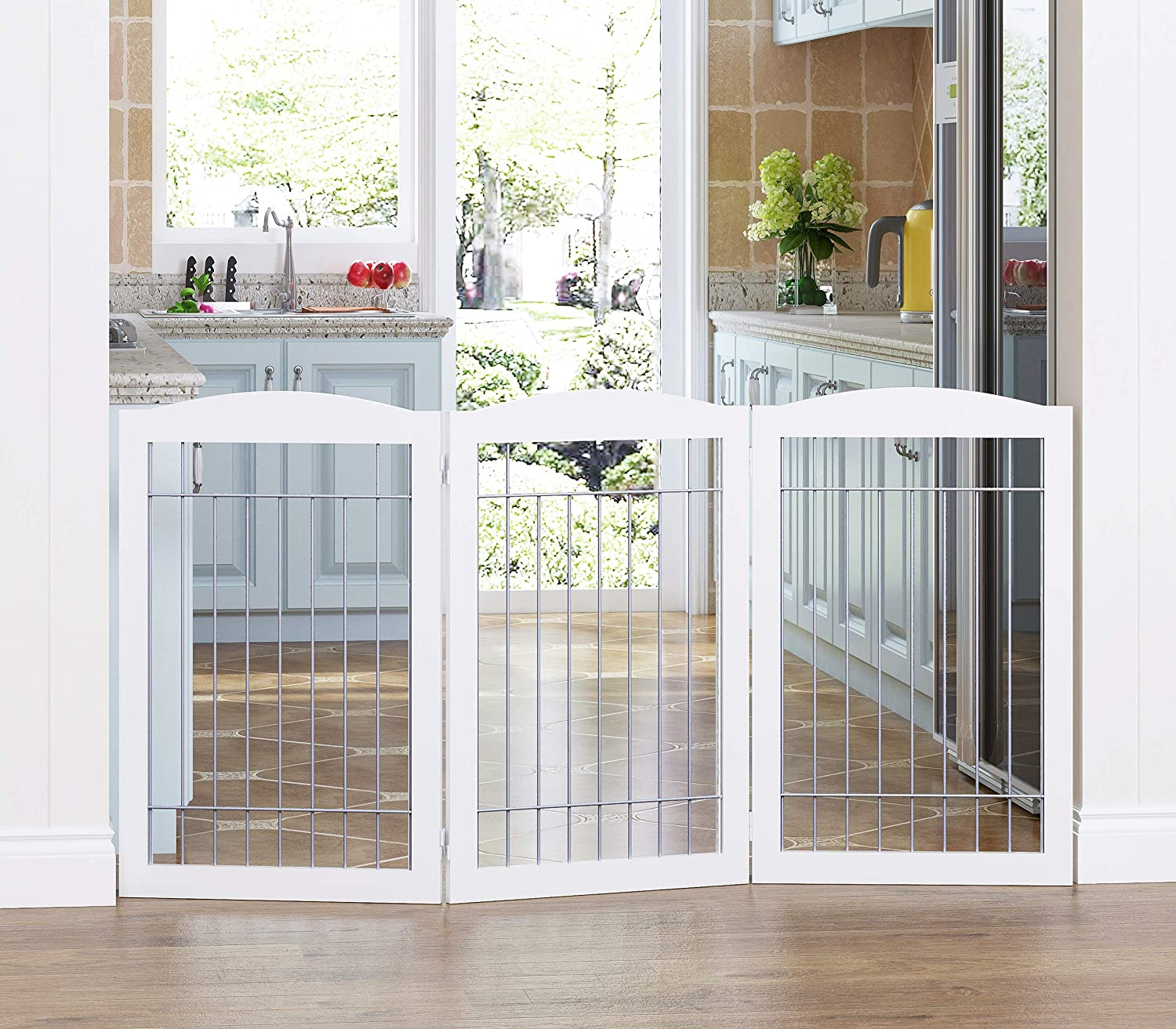 Spirich Freestanding Wire Pet Gate for Dogs, 60 inches Extra Wide, 30 inches Tall Dog Gate for The Houes, Doorway, Stairs, Pet Puppy Safety Fence, White with Sliver Wire- 3 Panels(NO Included FEET)