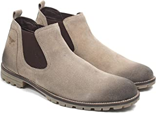Freacksters Suede Leather Canvas Sneakers Chelsea Boots for Men (Khaki)