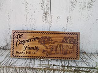 Custom Camping Sign with a RV Camper, Personalized Camper Sign, Custom Carved Wooden Signs C110
