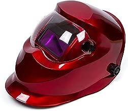Red Solar Power Auto Darkening Welding Helmet Large View (3.66