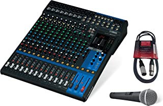 Yamaha MG16XU 16-Channel Mixing Console Bundle with Pure Resonance Audio UC1S Microphone and Microphone Cable